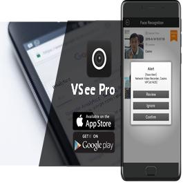 Immagine notifiche push per funzionalità di controllo accessi, registrazione volti nel riconoscimento facciale, lettura targhe, eventi ed allarmi, attraverso l'app mobile vsee pro di Kedacom;