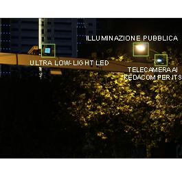 Immagine di esempio con telecamera standard, in condizione di bassa illuminazione l'immagine è scura e rumorosa