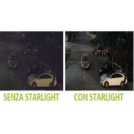Immagine di esempio di confronto tra la ripresa di una telecamera standard e la ripresa di una telecamera dotata di tecnologia d'immagine Starlight. La ripresa starlight permette di avere tutti i dettagli nitidi ed immagini prive di rumore, luminose.