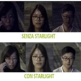 Immagine di confronto di dettagli come i volti tra la ripresa di una telecamera standard e la ripresa di una telecamera dotata di tecnologia d'immagine Starlight. La ripresa starlight permette di avere un'immagine nitida dei volti, priva di rumore, luminosa.
